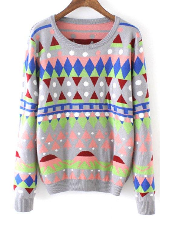 women's Round Neck Geometric Pattern Sweater - GRAY ONE SIZE(FIT SIZE XS TO M)