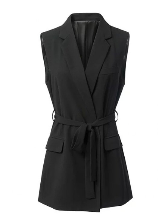 buy Black Stylish Lapel Collar Women's Waistcoat - BLACK S