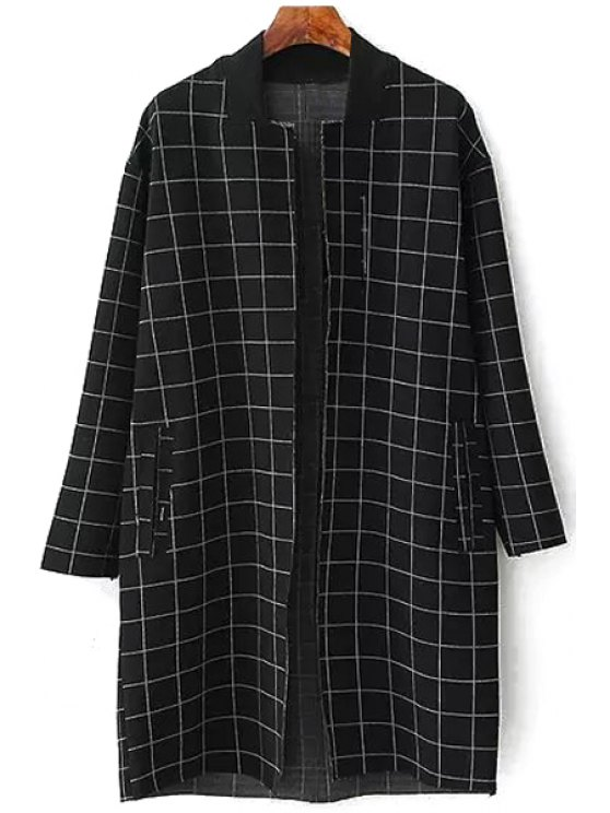 fashion Plaid Pocket Long Sleeve Trench Coat - BLACK M