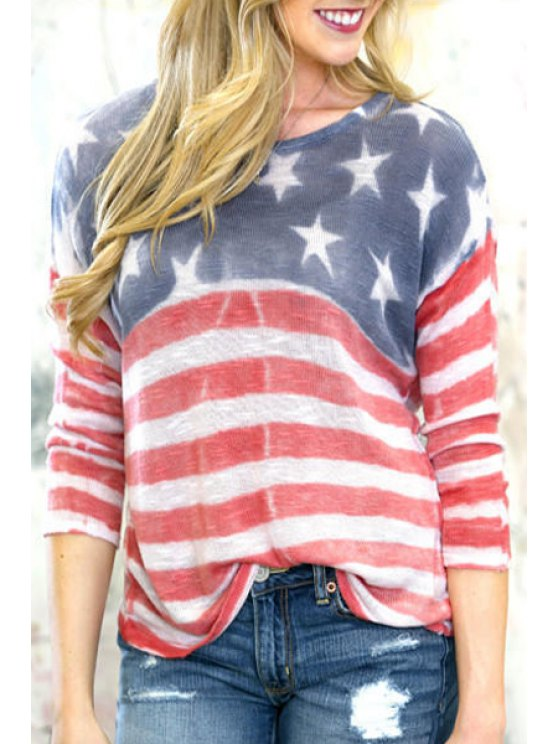 hot American Flag Print Long Sleeve T-Shirt - COLORMIX S
