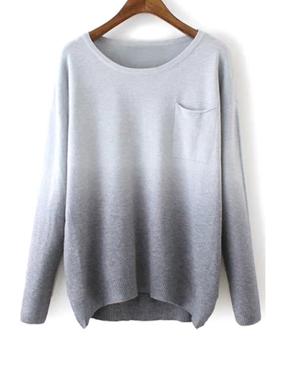 affordable Round Neck Ombre Color Sweater - GRAY ONE SIZE(FIT SIZE XS TO M)