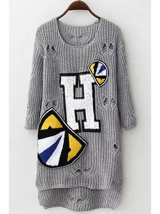women's Letter Applique Hole Long Sleeve Sweater - GRAY ONE SIZE(FIT SIZE XS TO M)
