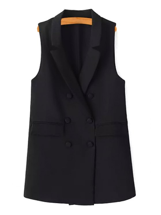 shop Double-Breasted Solid Color Waistcoat - BLACK S