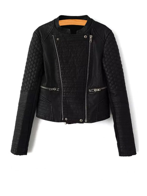 ladies Stand Collar Black Short Faux Leather Jacket - BLACK S