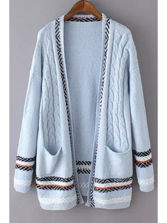ladies Cable Knit Two Pockets Cardigan - AZURE ONE SIZE(FIT SIZE XS TO M)