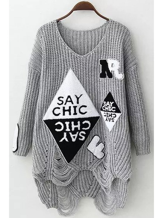 outfits V Neck Letter Applique Hole Sweater - GRAY ONE SIZE(FIT SIZE XS TO M)