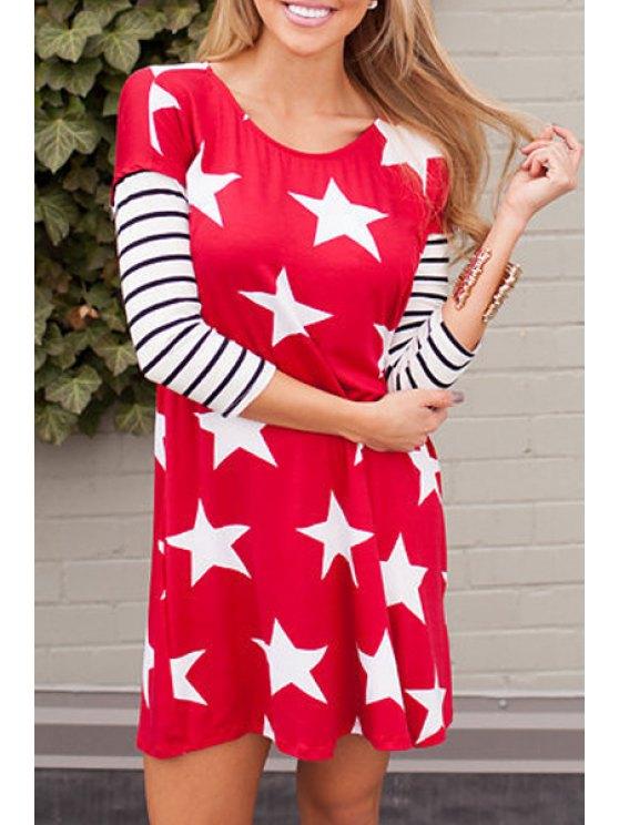 trendy Full Star Print 3/4 Sleeve T-Shirt - RED S