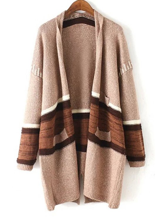 outfit Open Front Striped Cardigan - KHAKI ONE SIZE(FIT SIZE XS TO M)