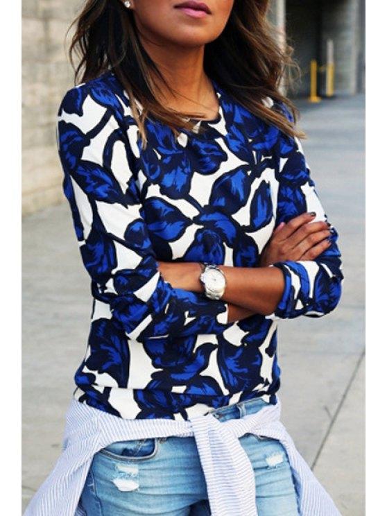 fashion Blue Leaf Print Long Sleeve Sweatshirt - BLUE AND WHITE S
