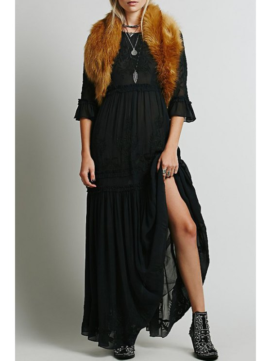 buy Flower Embroidery 3/4 Sleeves Maxi Dress - BLACK S