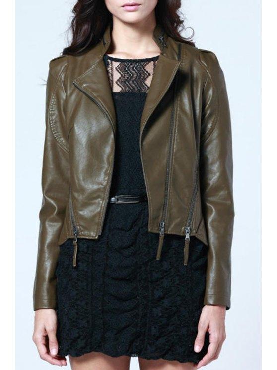 lady Zipper Design PU Leather Coat - BROWN S