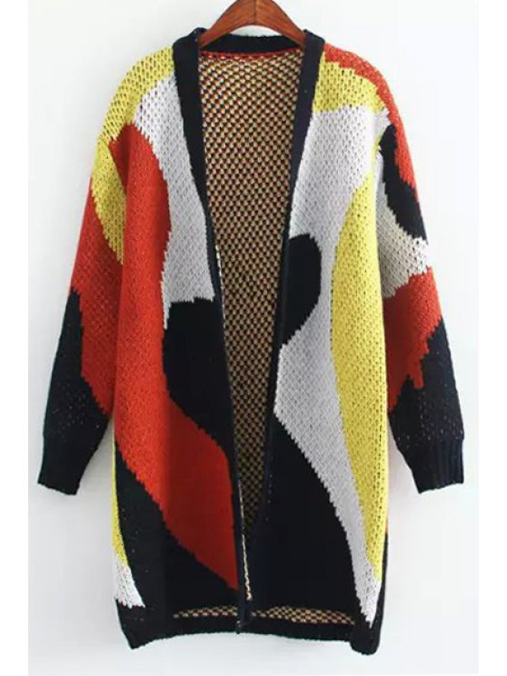 shop Collarless Color Block Thick Cardigan - COLORMIX ONE SIZE(FIT SIZE XS TO M)
