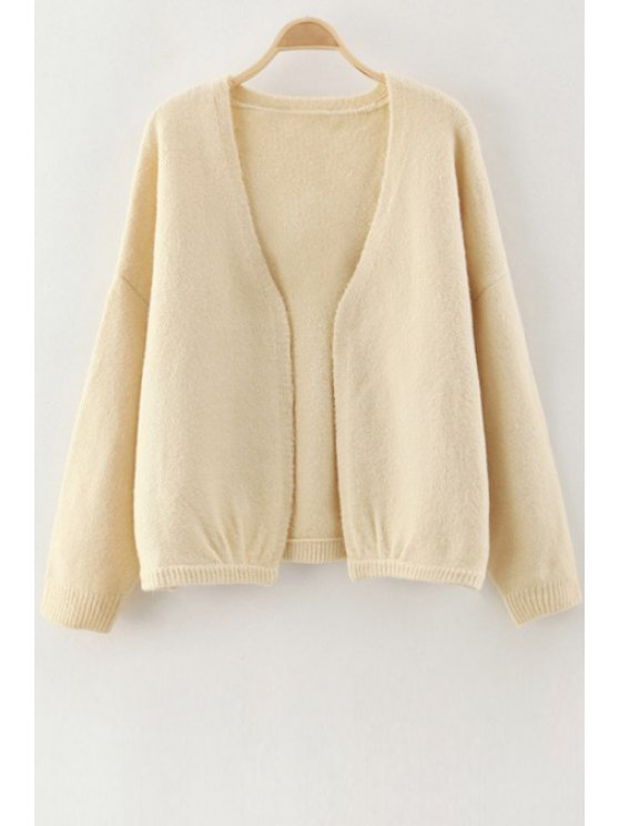 online V-Neck Pure Color Long Sleeve Cardigan - OFF-WHITE ONE SIZE(FIT SIZE XS TO M)