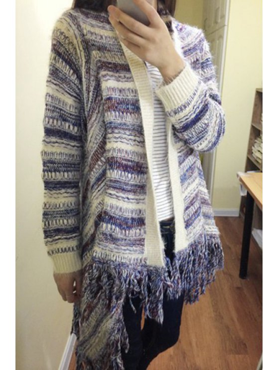 affordable Long Sleeve Tassels Mohair Cardigan - PURPLE M