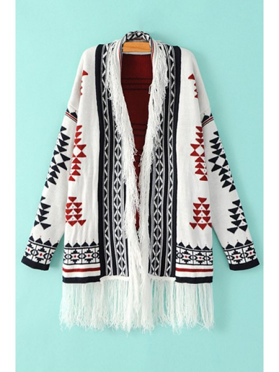 latest Open Front Tassels Jacquard Cardigan - WHITE ONE SIZE(FIT SIZE XS TO M)