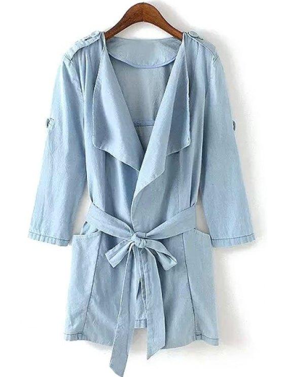 buy Turn-Down Collar Tie-Up Belt Trench Coat - BLUE S