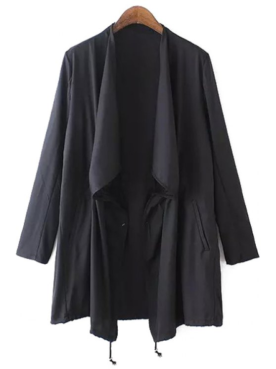 outfit Asymmetrical Solid Color Long Sleeve Trench Coat - BLACK S