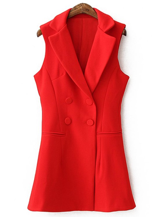 women Lapel Solid Color Double-Breasted Waistcoat - AS THE PICTURE S