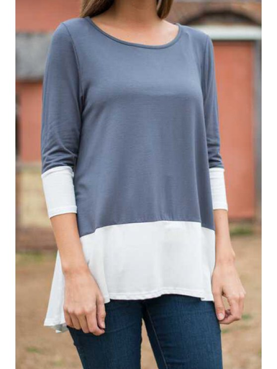 best Color Block Scoop Neck 3/4 Sleeve T-Shirt - AS THE PICTURE S