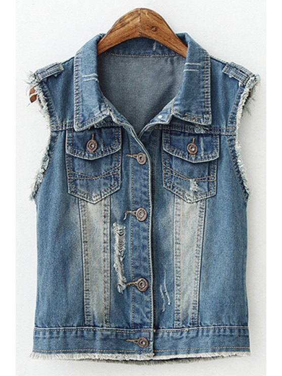 fashion Bleach Wash Sleeveless Denim Coat - AS THE PICTURE S