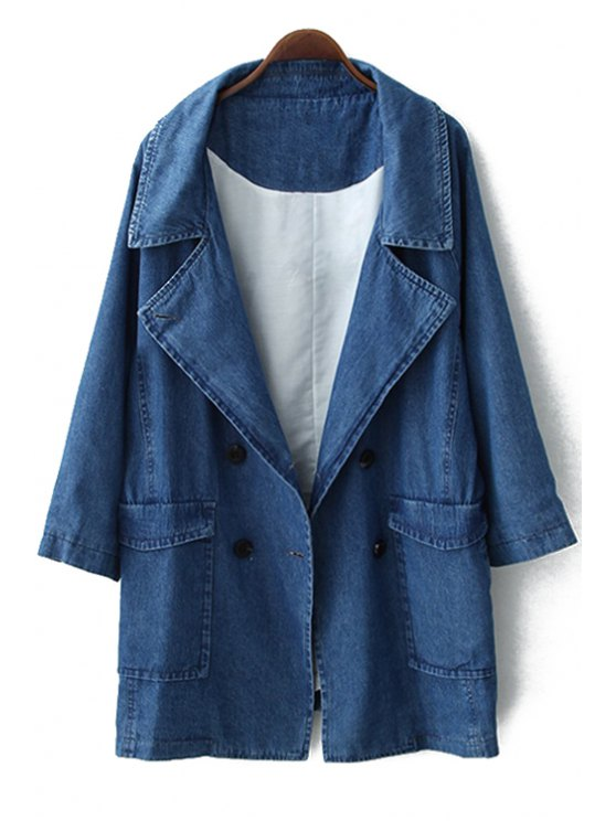 sale Double-Breasted Solid Color Long Sleeve Coat - BLUE S