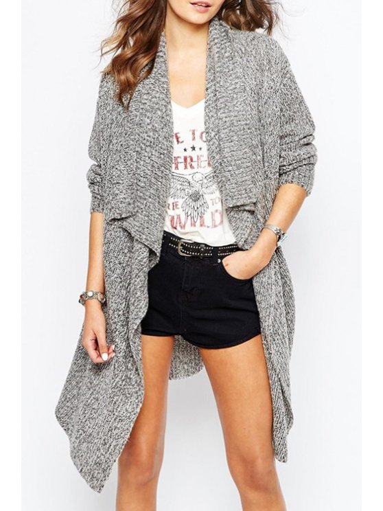 sale Gray Turn Down Neck Long Sleeves Cardigan - GRAY ONE SIZE(FIT SIZE XS TO M)