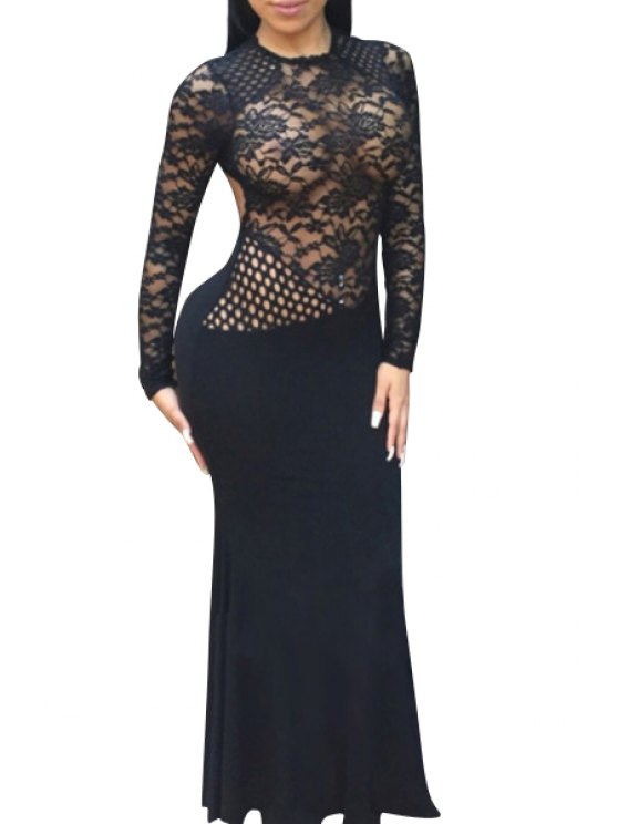 ladies Openwork Lace Hook Fishtail Dress - BLACK S
