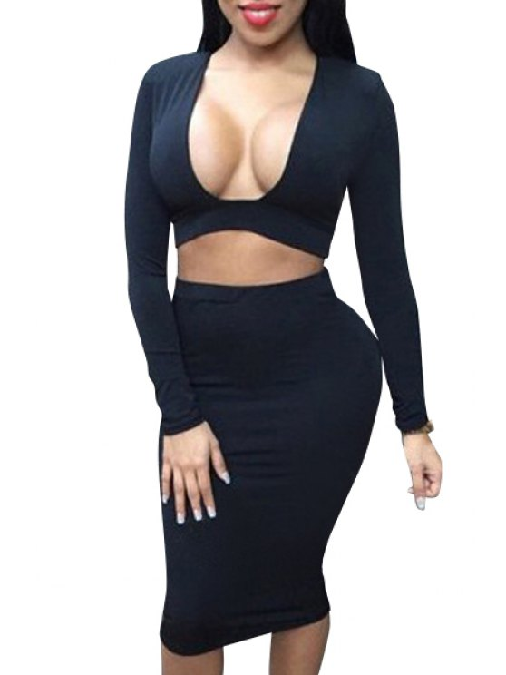 affordable Long Sleeve Crop Top and Pencil Skirt Suit - BLACK S