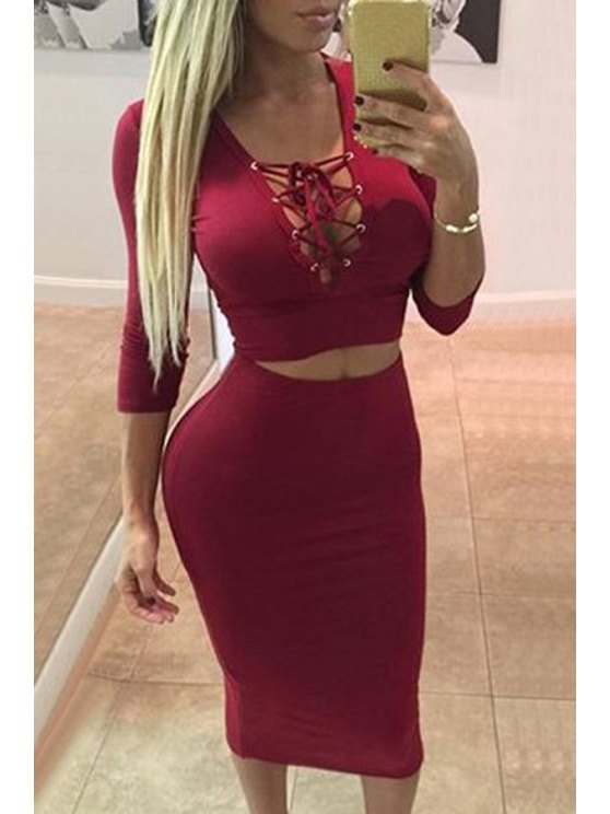 lady Plunging Neck Crop Top and Pencil Skirt Suit - RED S