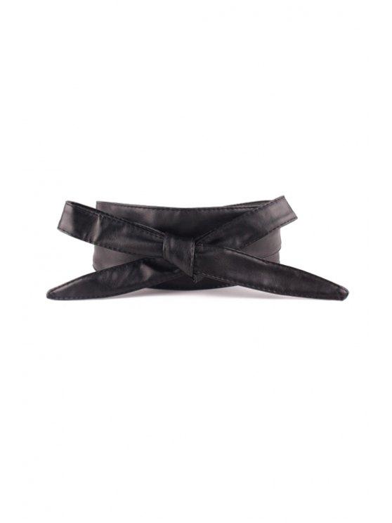 women Knotted Bow PU Waistband - BLACK