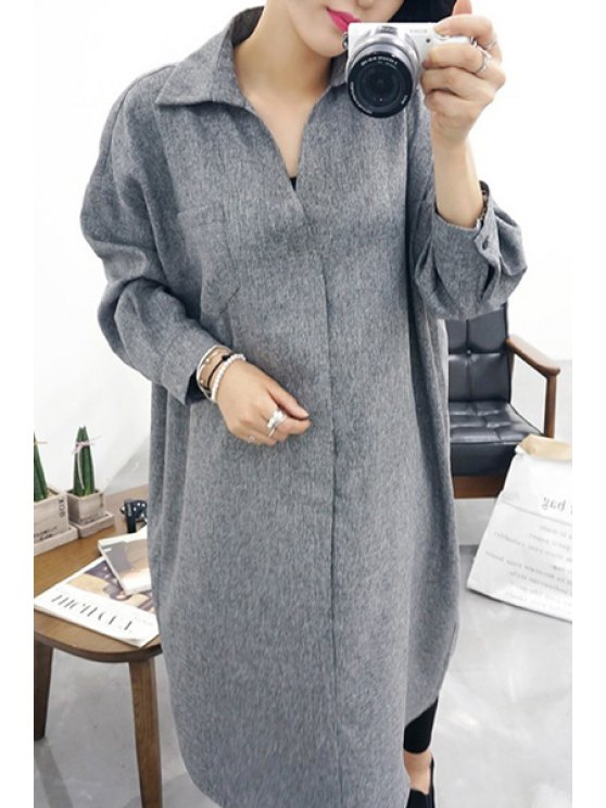 buy Turn-Down Collar Belt Solid Color Dress - GRAY ONE SIZE(FIT SIZE XS TO M)