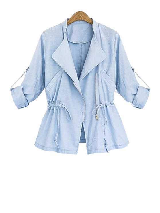 fancy Turn-Down Collar Draw Cord Long Sleeve Coat - AZURE S
