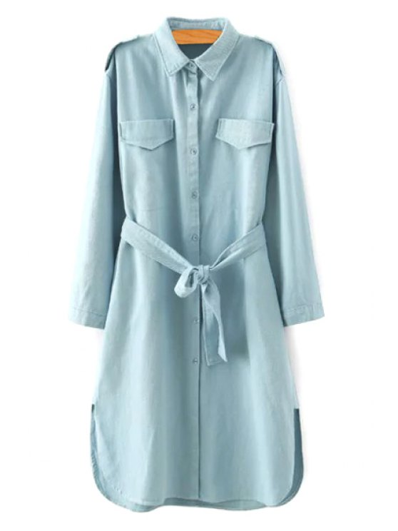 affordable Denim Blue Turn Down Collar Long Sleeve Trench Coat - BLUE M