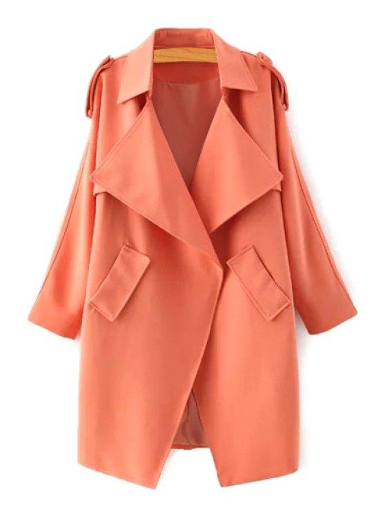 ladies Pure Color Lapel Long Sleeve Trench Coat - ORANGE S
