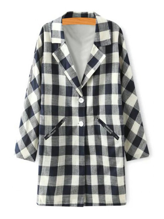outfit Checked Lapel Long Sleeve Trench Coat - WHITE AND BLACK S