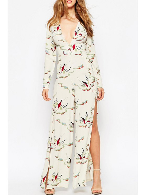 ladies Bird Print High Slit Hollow Back Jumpsuit - WHITE S