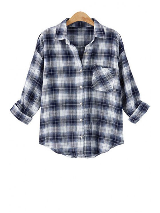 affordable Turn-Down Collar Plaid Pocket Long Sleeve Shirt - BLUE AND WHITE XL