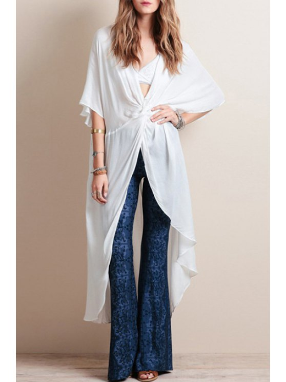 shops Batwing Sleeve Front Twist High Low Blouse - WHITE S