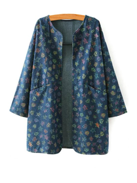 affordable Full Star Print Long Sleeve Denim Coat - PURPLISH BLUE S