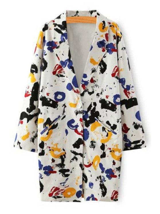 fancy Tie Dye Print Lapel Long Sleeve Blazer - COLORFUL S