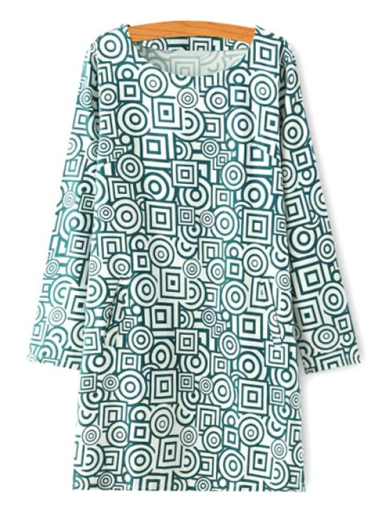 best Geometric Print Scoop Collar Long Sleeve Dress - GREEN S