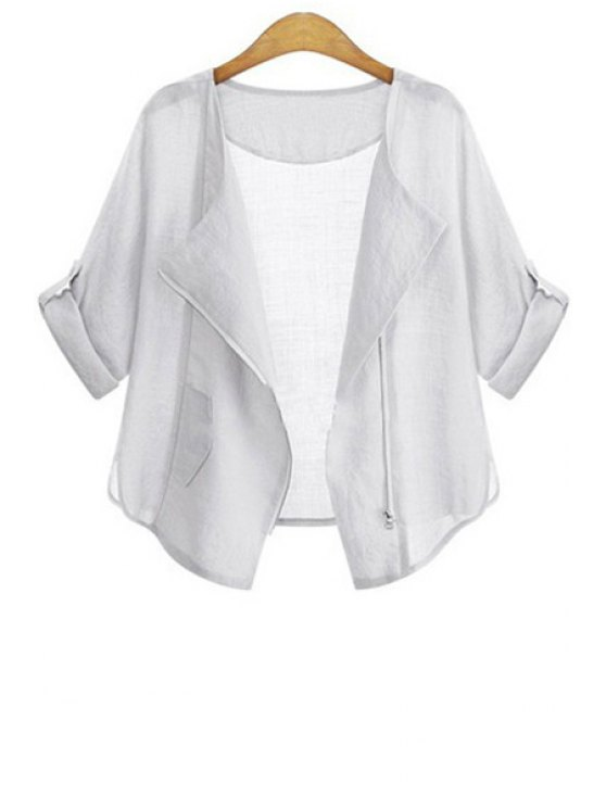 chic Zipper Fly Solid Color Half Sleeve Coat - WHITE S