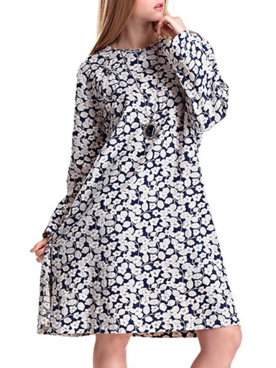 lady Side Slit Floral Print Round Collar Dress - WHITE ONE SIZE(FIT SIZE XS TO M)