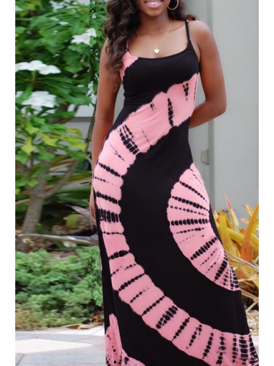 outfit Spaghetti Strap Pink Printed Sleeveless Dress - BLACK AND PINK S