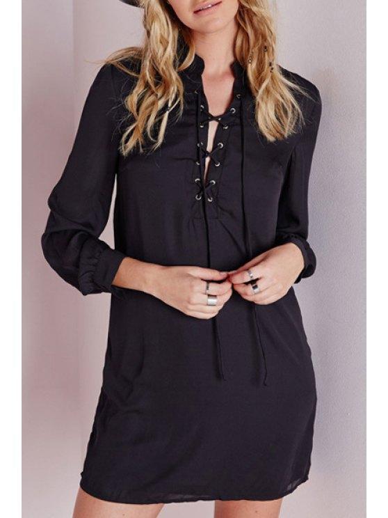 women's Stand Neck Lace-Up Black Dress - BLACK S