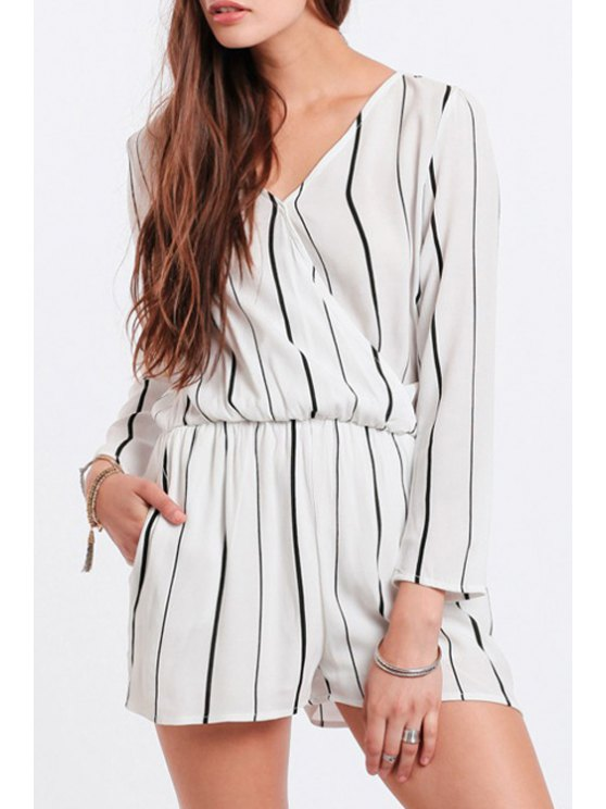chic Striped V Neck Long Sleeve Chiffon Playsuit - WHITE AND BLACK S
