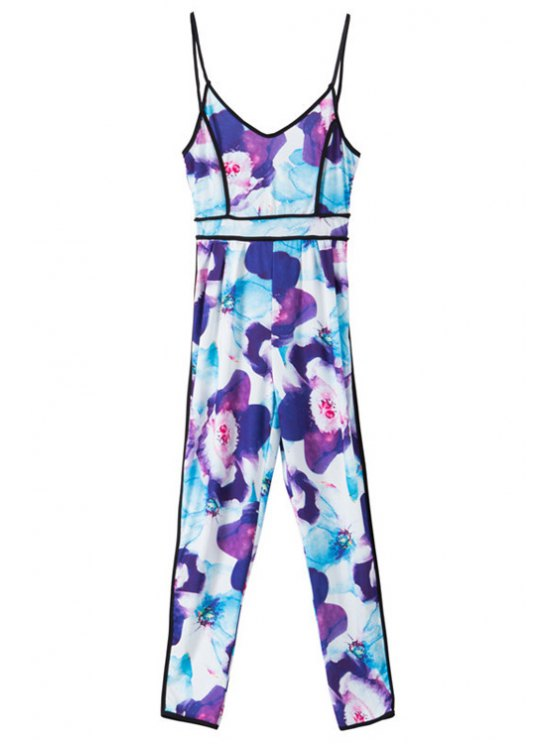 trendy Spaghetti Strap Floral Print Sleeveless Jumpsuit - COLORMIX S
