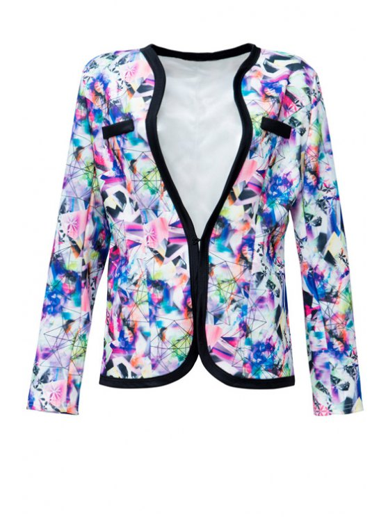outfits V-Neck Colorful Printed Long Sleeve Coat - COLORMIX S