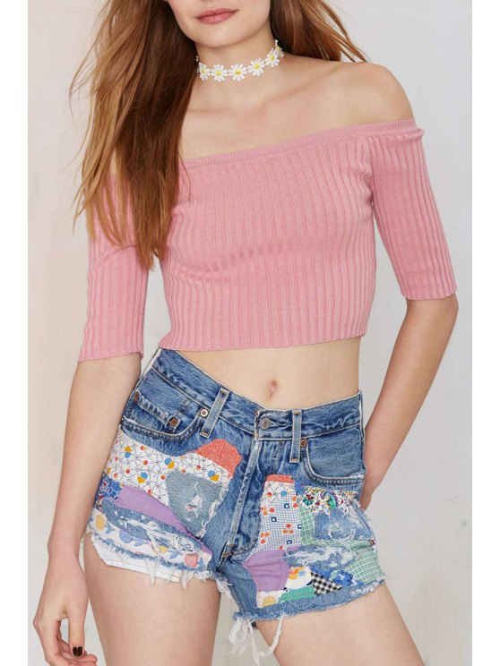 online Solid Color Slash Neck Half Sleeve Jumper - PINK S