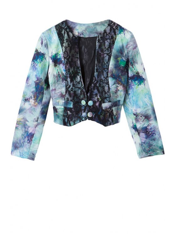 womens Plunging Neck Tie Dye Long Sleeve Coat - COLORMIX S